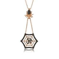 Bayan Lili Gümüş Muhammed Yazılı Örümcek Ağı Kolye