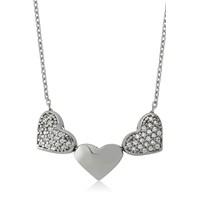 Bayan Lili Üç Kalp Gümüş Kolye