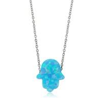 Olivin Accesories Mavi Opal Fatıma Nın Eli Gümüş Kolye 432621