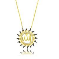 Bayan Lili Gümüş Allah Yazılı Güneş Kolye