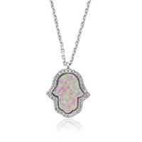 Olivin Accesories Pembe Opal Taş Fatma Nın Eli Gümüş Kolye 432635