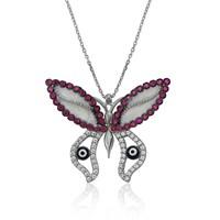 Bayan Lili Gümüş Nazarlı Kelebek Kolye