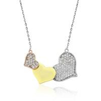 Olivin Accesories Gümüş Üç Kalp Kolye 432681