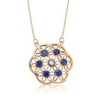 Olivin Accesories Gümüş Mavi Yaşam Çiçeği Kolye 432755