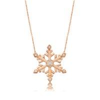 Olivin Accesories Gümüş Rose Kristal Kar Tanesi Kolye 432827