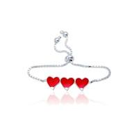Olivin Accesories Gümüş Üç Kalp Mineli Çocuk Bileklik 433175