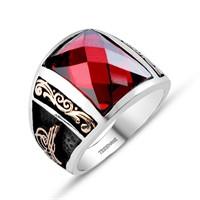 Tesbihane Barbaros Yüzüğü - 925 Ayar Gümüş Zirkon Taşlı Tuğralı Yüzük