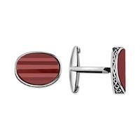 Tesbihane Kırmızı Taşlı Kol Gümüş Düğmesi (Model-2)