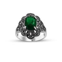 Tesbihane 925 Ayar Gümüş Yeşil Zirkon Taşlı Otantik Yüzük
