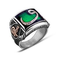 Tesbihane 925 Ayar Gümüş Yeşil Mineli Vav Yüzük