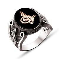 Tesbihane 925 Ayar Gümüş Tuğra Desenli Oniks Taşlı Yüzük