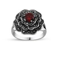 Tesbihane 925 Ayar Gümüş Kırmızı Zirkon Taşlı Çiçek Yüzük