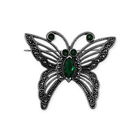 Tesbihane 925 Ayar Gümüş Kelebek Broş