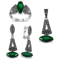Tesbihane 925 Ayar Gümüş Green Glass Taşlı Set-4
