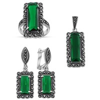 Tesbihane 925 Ayar Gümüş Green Glass Taşlı Set