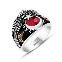 Tesbihane 925 Ayar Gümüş Anadolu Kartalı Yüzüğü