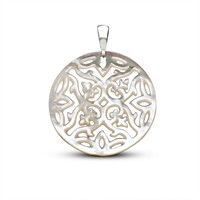 Tesbihane Sedef Yapım Özel Çiçek Desenli Kolye (Gümüş Zincirli)