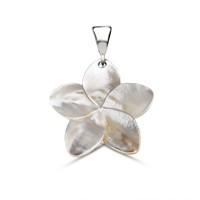 Tesbihane Sedef Yapım Çiçek Desenli Kolye (Gümüş Zincirli)
