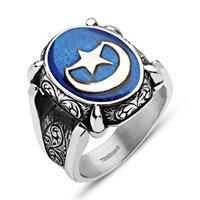 Tesbihane Mavi Mine Üzerine Ayyıldız 925 Ayar Gümüş Oval Yüzük