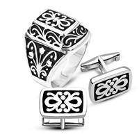 Tesbihane Gümüş Kurtlar Vadisi Yüzüğü Ve Desenli Gümüş Kol Düğmesi Kombini