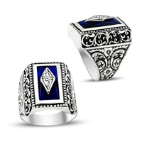 Tesbihane Erzurum El İşi Mavi Mineli 925 Ayar Gümüş Yüzük