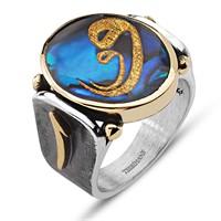 Tesbihane Elif Harfli Okyanus Sedefi Üzerine Altın Varaklı Vav Harfi Gümüş Yüzük