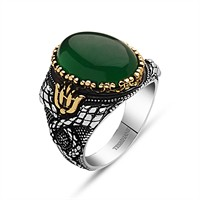 Tesbihane 925 Ayar Gümüş Yeşil Akik Taşlı Yüzük