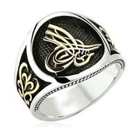 Tesbihane 925 Ayar Gümüş Tuğralı Dekoratif Yüzük