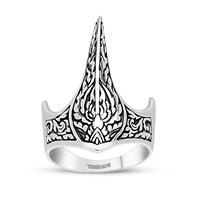 Tesbihane 925 Ayar Gümüş Özel Tasarım Okçu (Zihgir) Yüzüğü