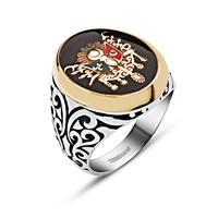Tesbihane 925 Ayar Gümüş Mineli Osmanlı Devlet Armalı Özel Tasarım Yüzük