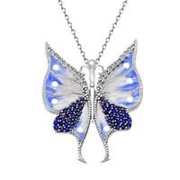 Tesbihane 925 Ayar Gümüş Mavi Beyaz Mineli Kelebek Kolye