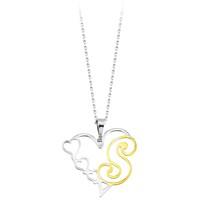 Tesbihane 925 Ayar Gümüş Harfli Kalp Kolye