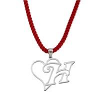 Tesbihane 925 Ayar Gümüş Harf Yazılı Kalp Kolye