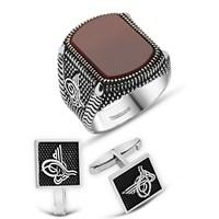 Tesbihane 925 Ayar Gümüş Akik Taşlı Yüzük Ve Tuğralı Kol Düğme Kombini