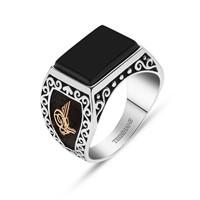 Tesbihane 925 Ayar Gümüş Oniks Taşlı Tuğra Ve Armalı Yüzük
