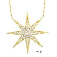 Tesbihane 14 Ayar Altın Zirkon Taşlı Yıldız Model Kolye