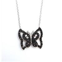 Nusrettaki 925 Ayar Gümüş Kanatlı Kelebek Kolye Beyaz - Siyah Taş