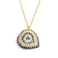 Nusrettaki 925 Ayar Gümüş Nazar Kalp Kolye Sarı - Beyaz Mavi Taş