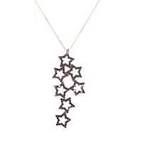 Nusrettaki 925 Ayar Rose Gümüş Yıldızlar Modeli Kolye