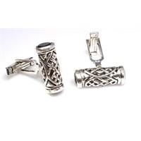 Nusrettaki 925 Ayar Gümüş Oniks Taşlı Silindir Modeli Kol Düğmesi