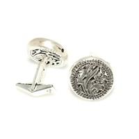 Nusrettaki 925 Ayar Gümüş Ajor Desenli Yuvarlak El İşi Kol Düğmesi