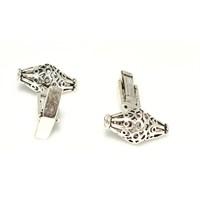 Nusrettaki 925 Ayar Gümüş Ajor Desenli Konik Modeli Kol Düğmesi