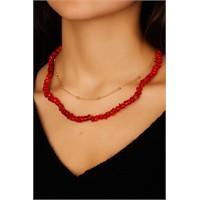 Morvizyon Sarı Zincir & Kırmızı Boncuk Tasarımlı Bayan Kolye Modeli