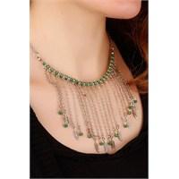 Morvizyon Gümüş Kaplama Püsküllü Zincir Tasarımlı Yeşil Boncuk&Yaprak Figürlü Bayan Kolye