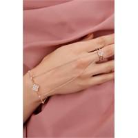 Morvizyon Rose Zincir Tasarımlı Kristal Taş Çiçek Figürlü Bayan Şahmeran Modeli