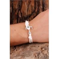 Morvizyon Beyaz İp Tasarım Kordonlu Metal Çapa Figürlü Erkek Bileklik Modeli