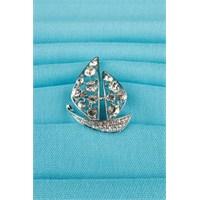 Morvizyon Gümüş Yelkenli Figür Parlak Taşlı Bayan Broş