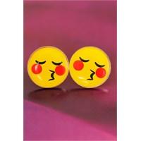 Morvizyon Emoji Tasarımlı Sarı Yuvarlak Öpücük Yüz İfadeli Bayan Küpe Modeli
