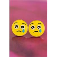 Morvizyon Emoji Tasarımlı Sarı Yuvarlak Ağlayan Yüz İfadeli Bayan Küpe Modeli