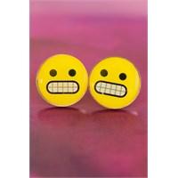 Morvizyon Emoji Tasarımlı Sinirli Sarı Yuvarlak Yüz İfadeli Bayan Küpe Modeli